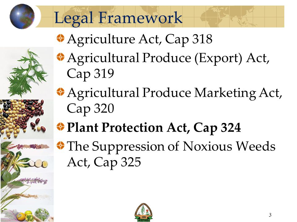 Legal Framework Agriculture Act, Cap 318