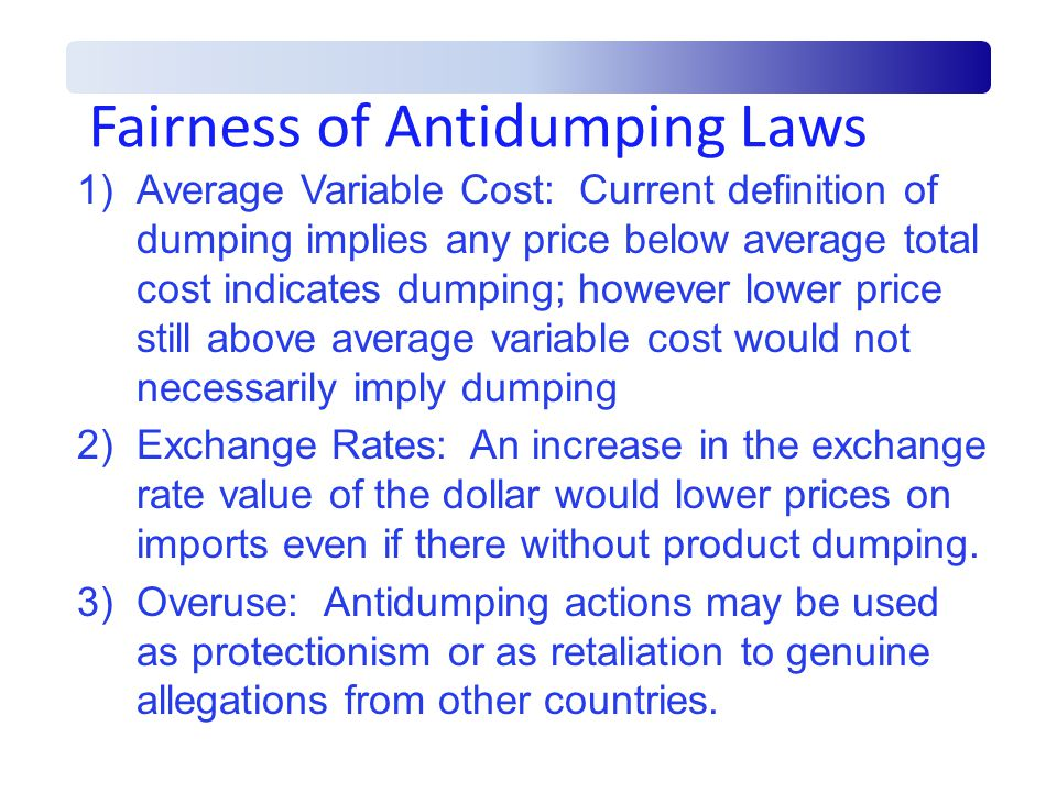 Fairness of Antidumping Laws