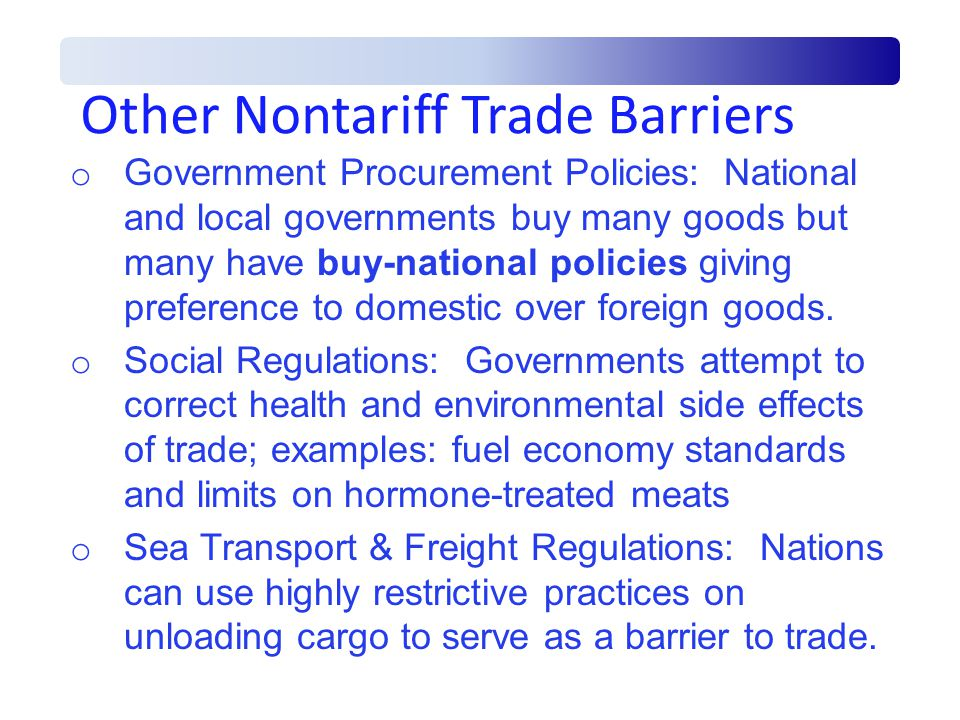 Other Nontariff Trade Barriers