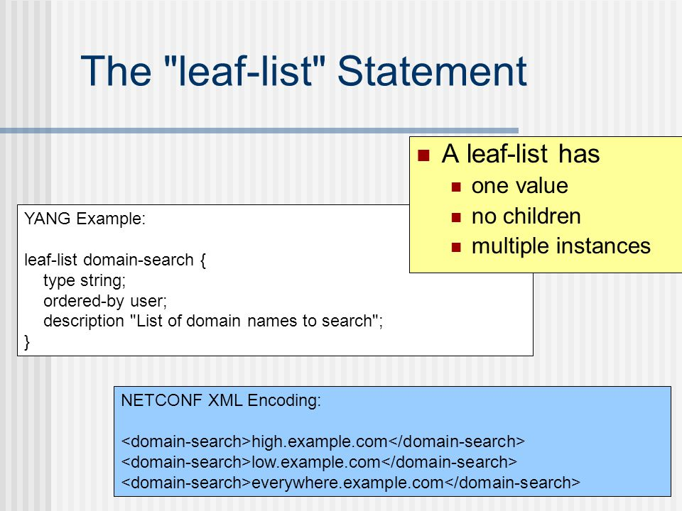 The leaf-list Statement