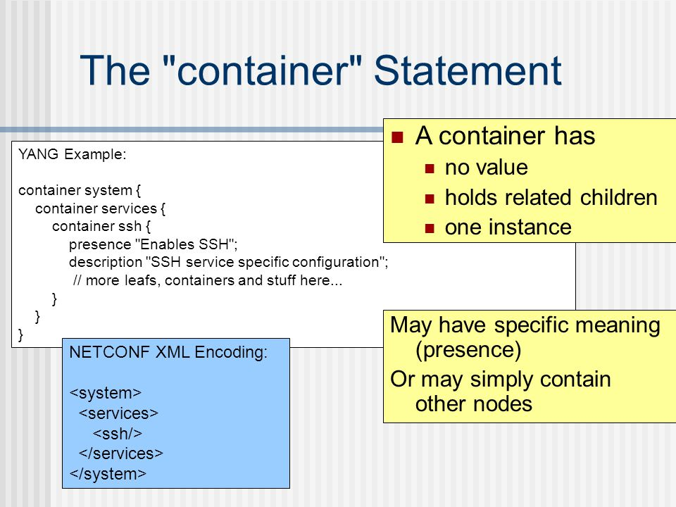 The container Statement