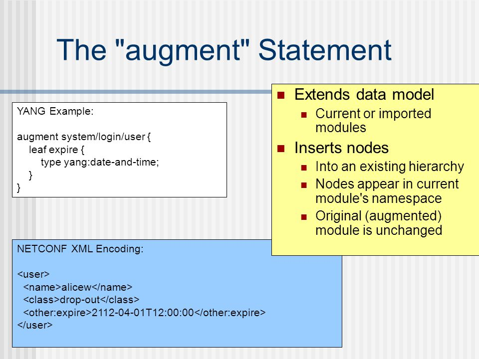 The augment Statement Extends data model Inserts nodes