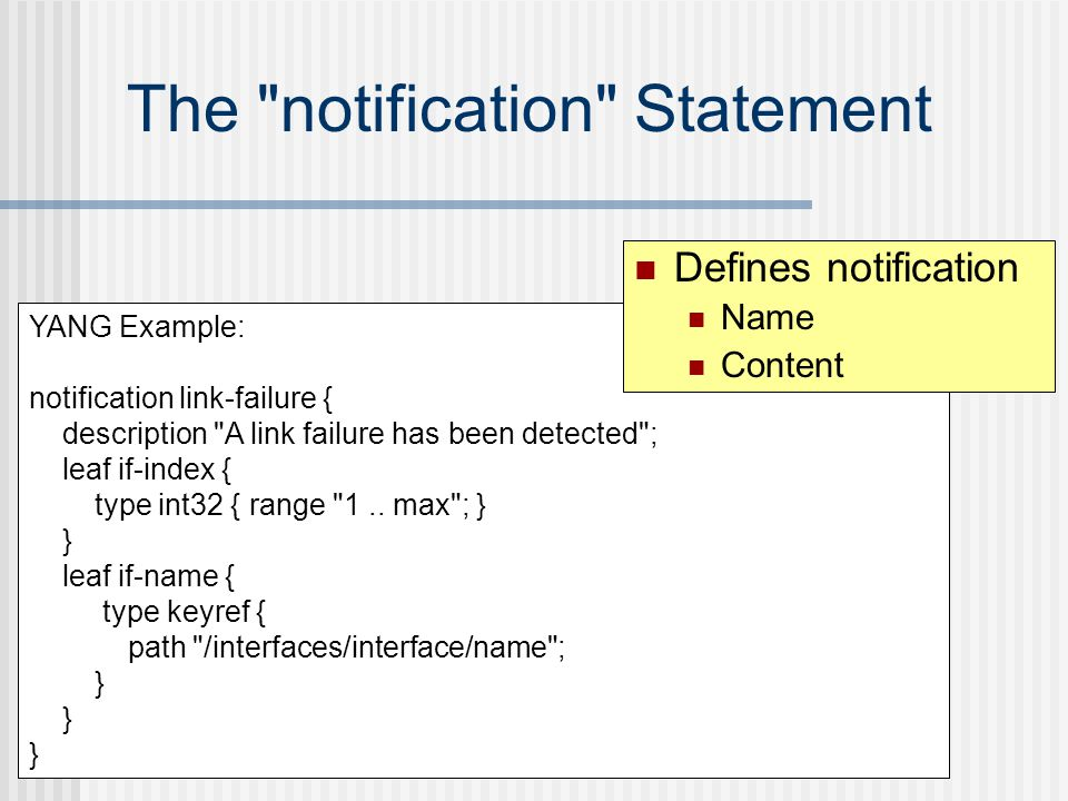 The notification Statement