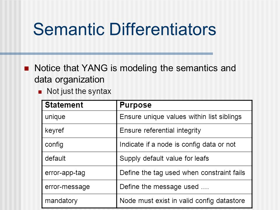 Semantic Differentiators