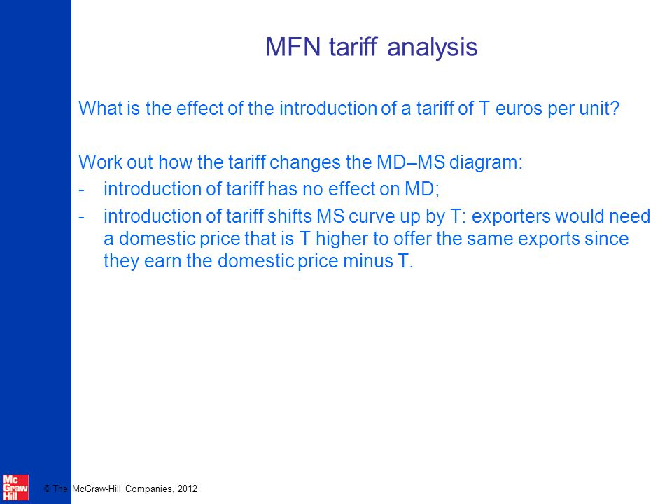 MFN tariff analysis What is the effect of the introduction of a tariff of T euros per unit Work out how the tariff changes the MD–MS diagram: