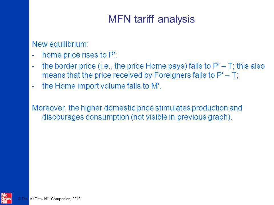 MFN tariff analysis New equilibrium: home price rises to P′;