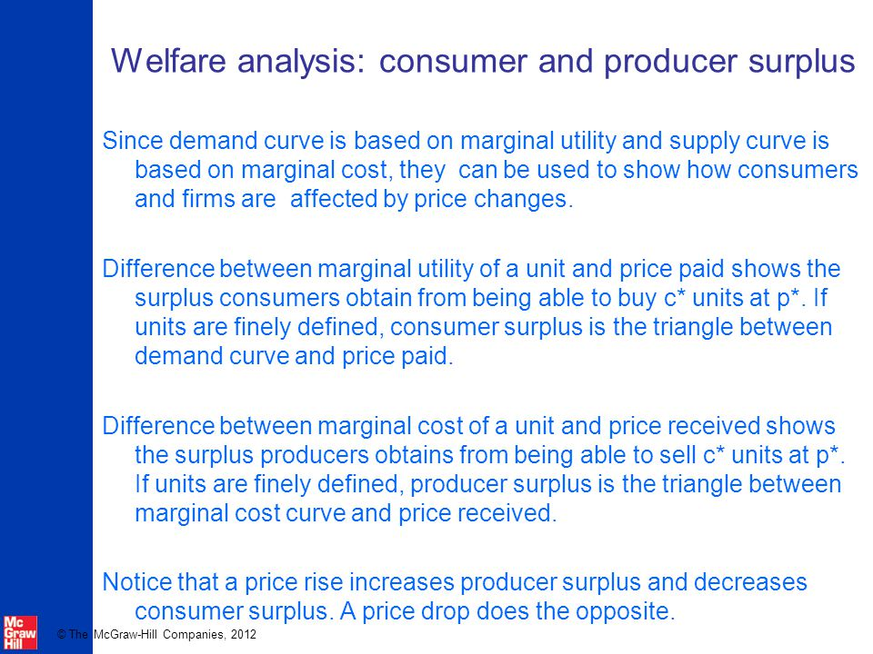 Welfare analysis: consumer and producer surplus
