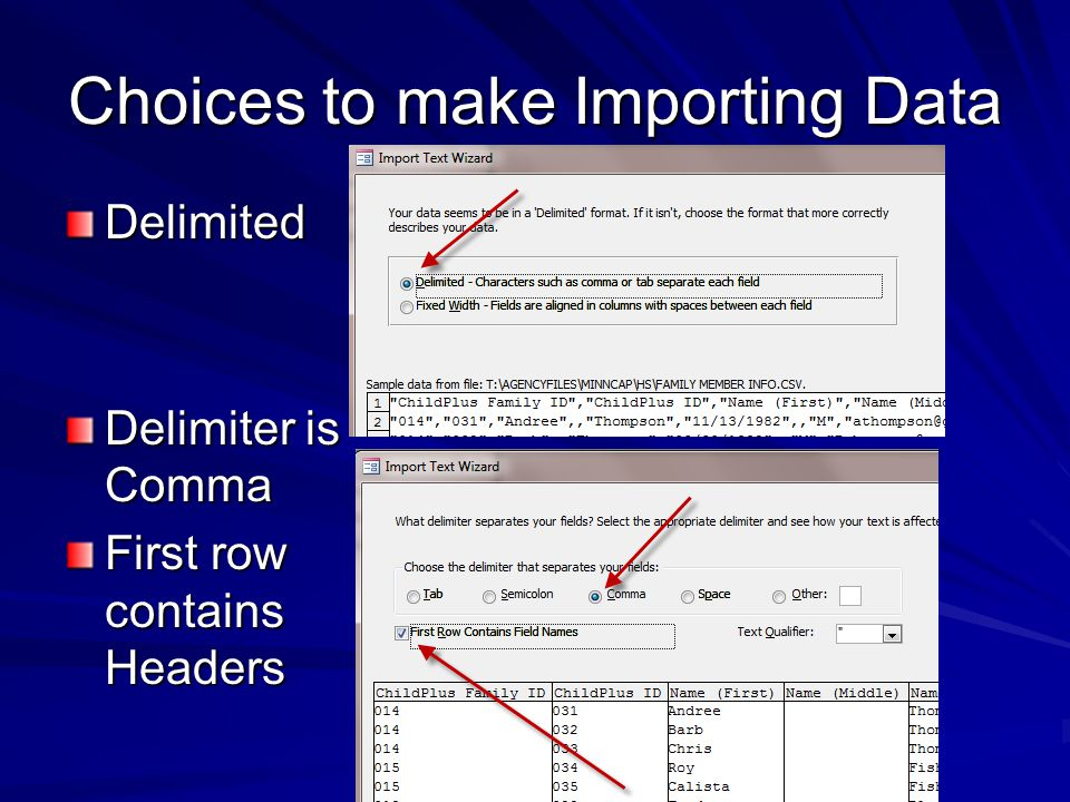 Choices to make Importing Data