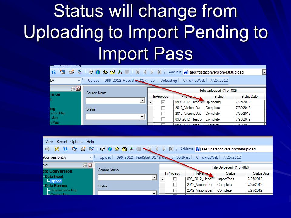 Status will change from Uploading to Import Pending to Import Pass