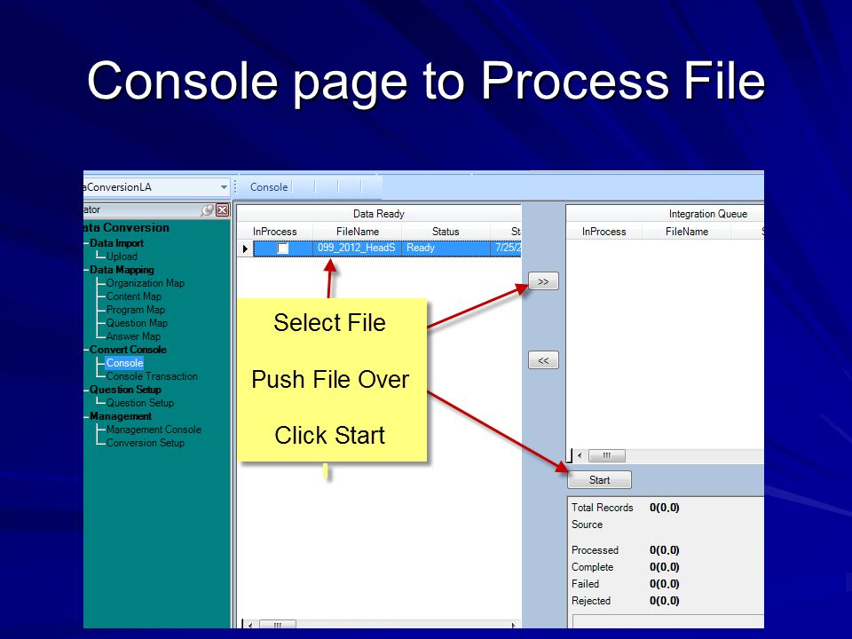 Console page to Process File