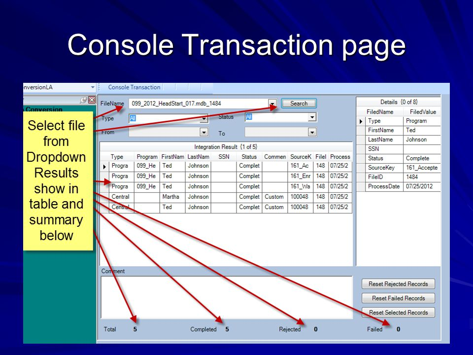 Console Transaction page