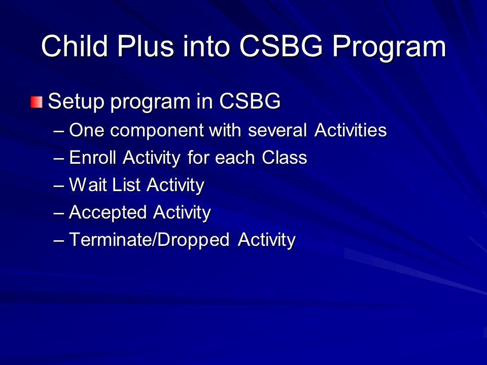 Child Plus into CSBG Program
