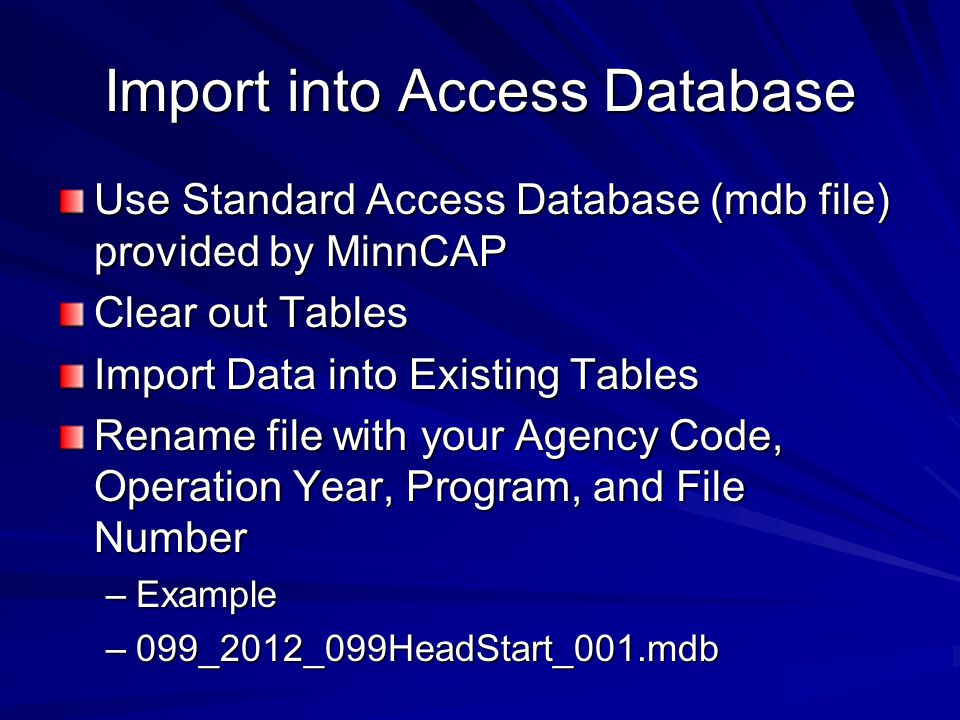 Import into Access Database