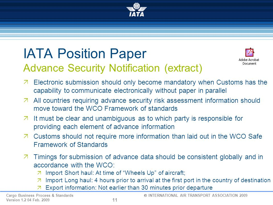 IATA Position Paper Advance Security Notification (extract)