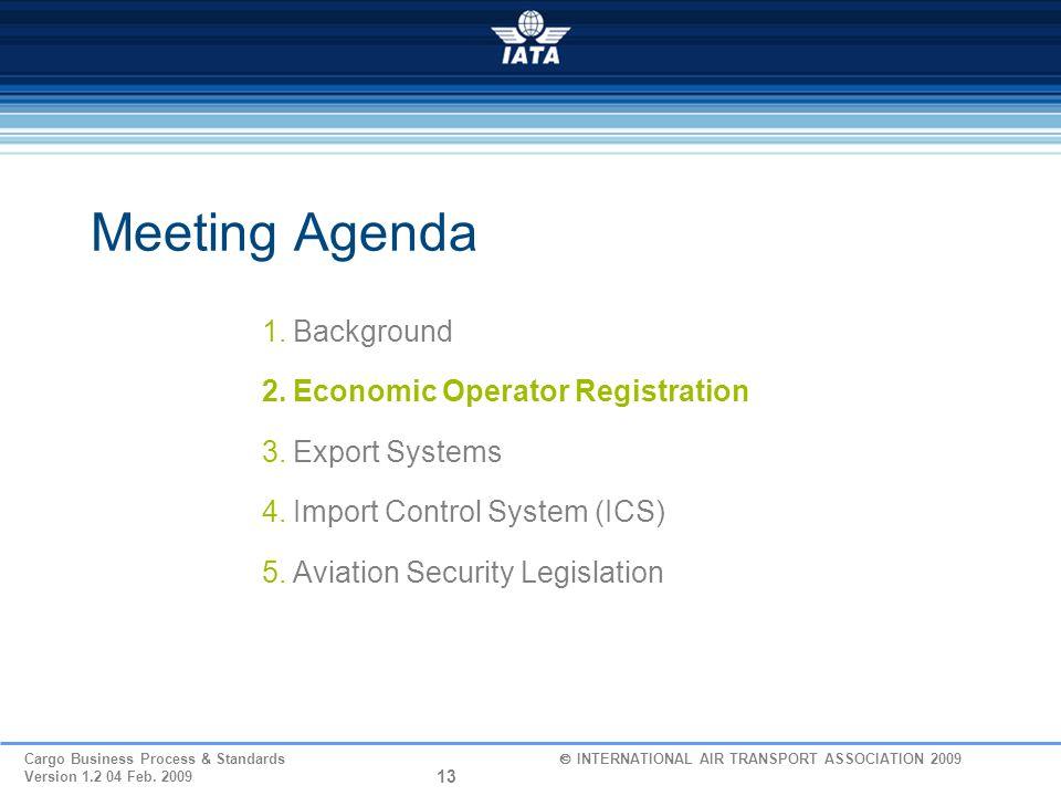 Meeting Agenda Background Economic Operator Registration