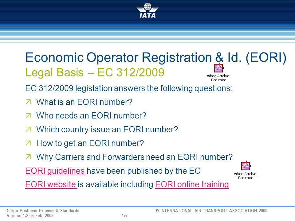 Economic Operator Registration & Id. (EORI) Legal Basis – EC 312/2009