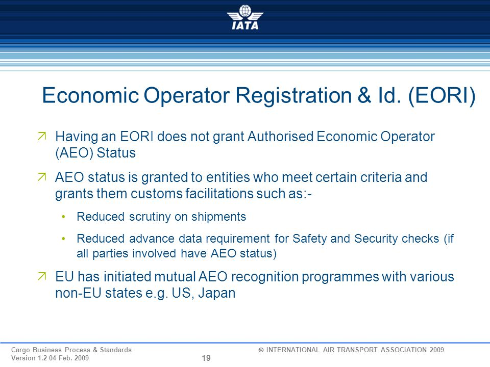 Economic Operator Registration & Id. (EORI)