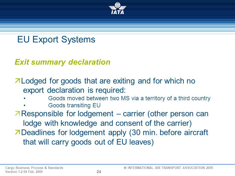 EU Export Systems Exit summary declaration