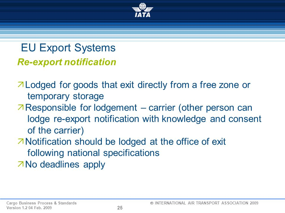 EU Export Systems Re-export notification