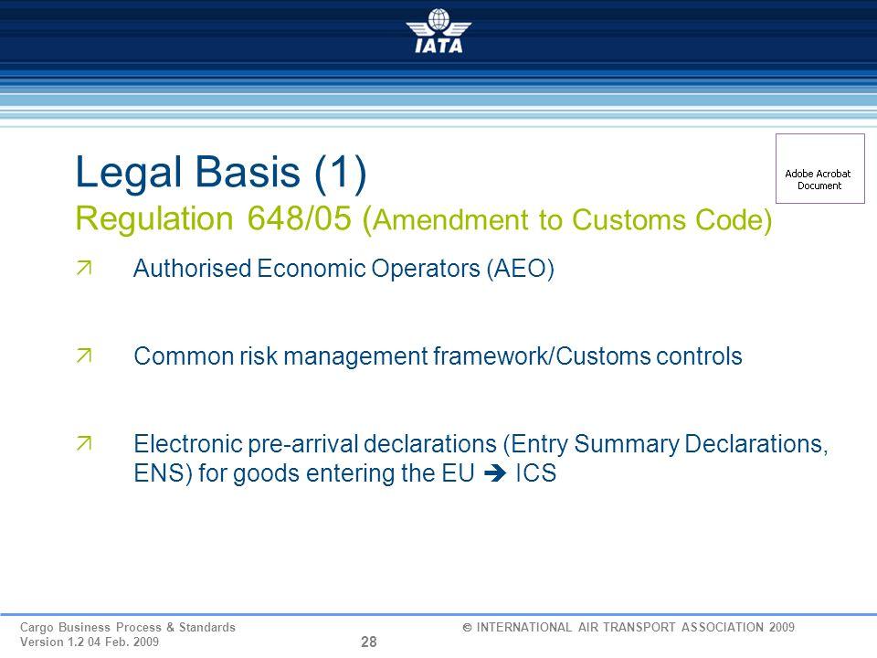 Legal Basis (1) Regulation 648/05 (Amendment to Customs Code)