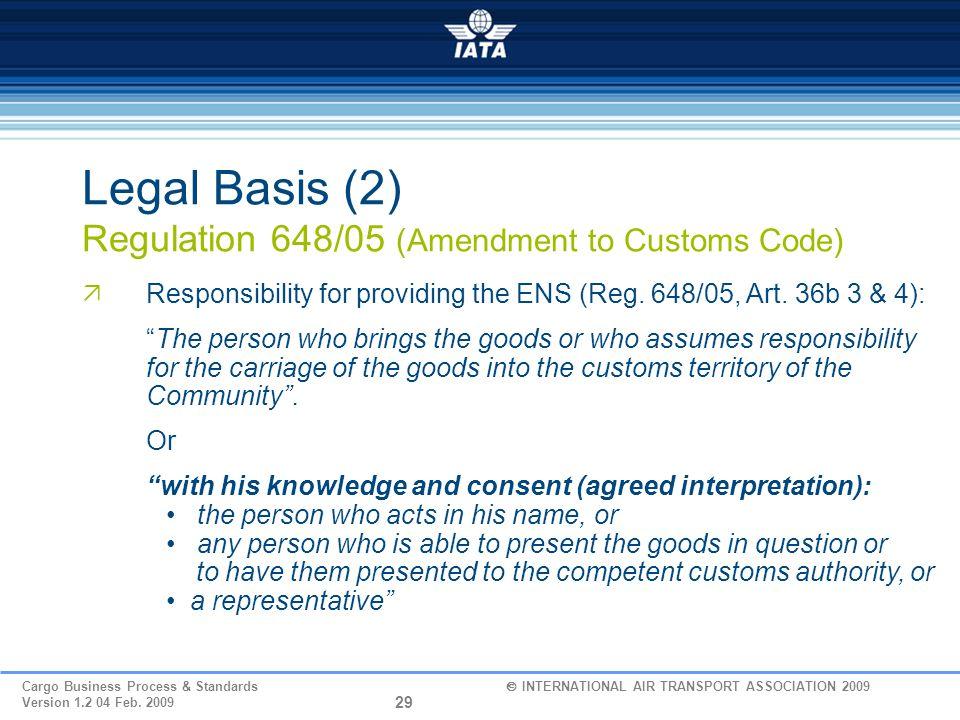 Legal Basis (2) Regulation 648/05 (Amendment to Customs Code)