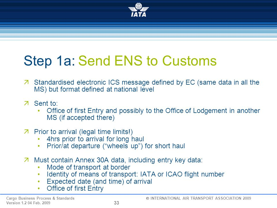 Step 1a: Send ENS to Customs