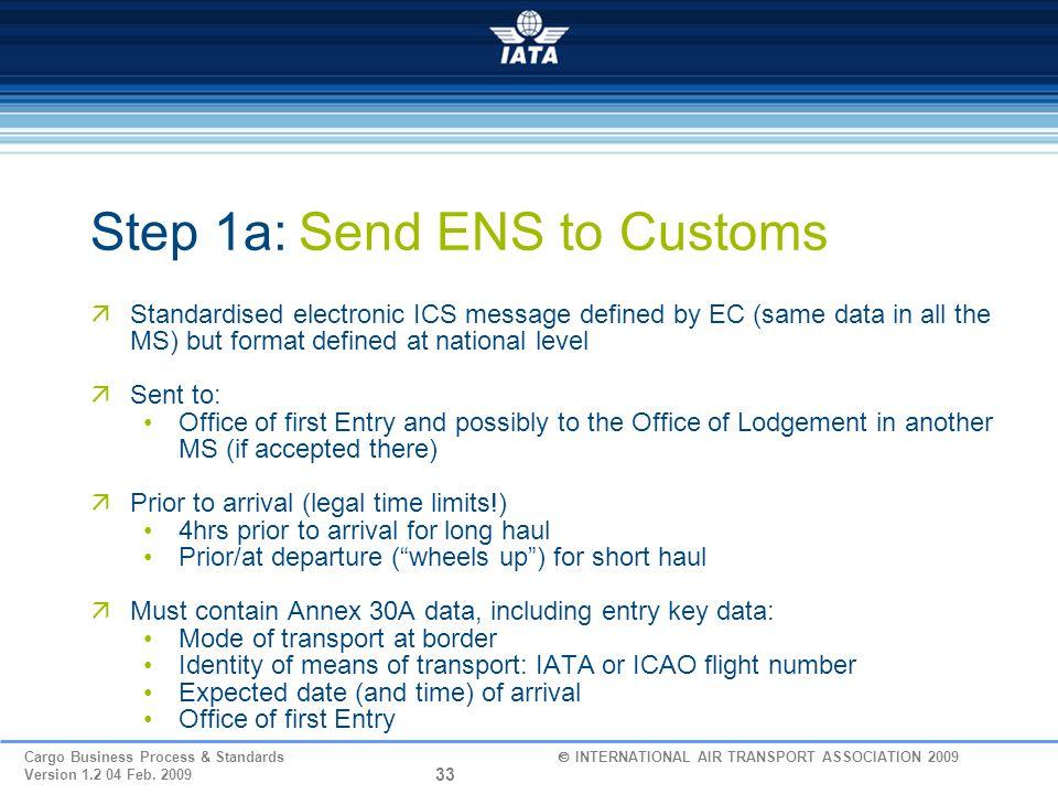 Step 1a: Send ENS to Customs