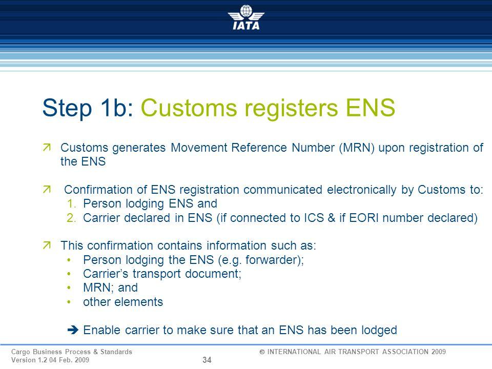 Step 1b: Customs registers ENS