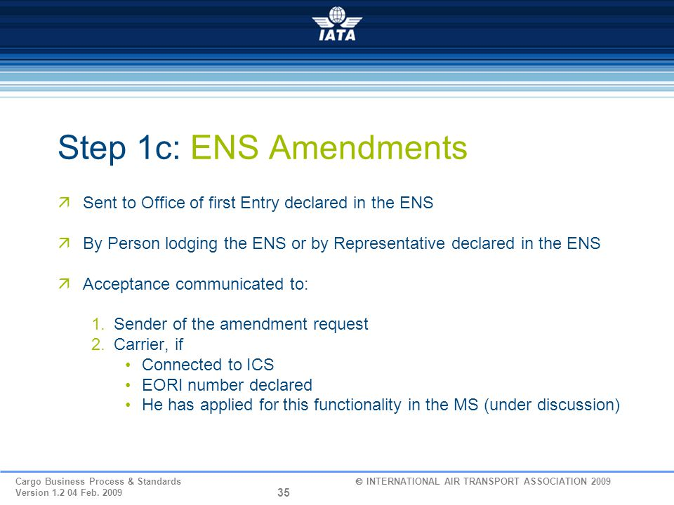 Step 1c: ENS Amendments Sent to Office of first Entry declared in the ENS. By Person lodging the ENS or by Representative declared in the ENS.