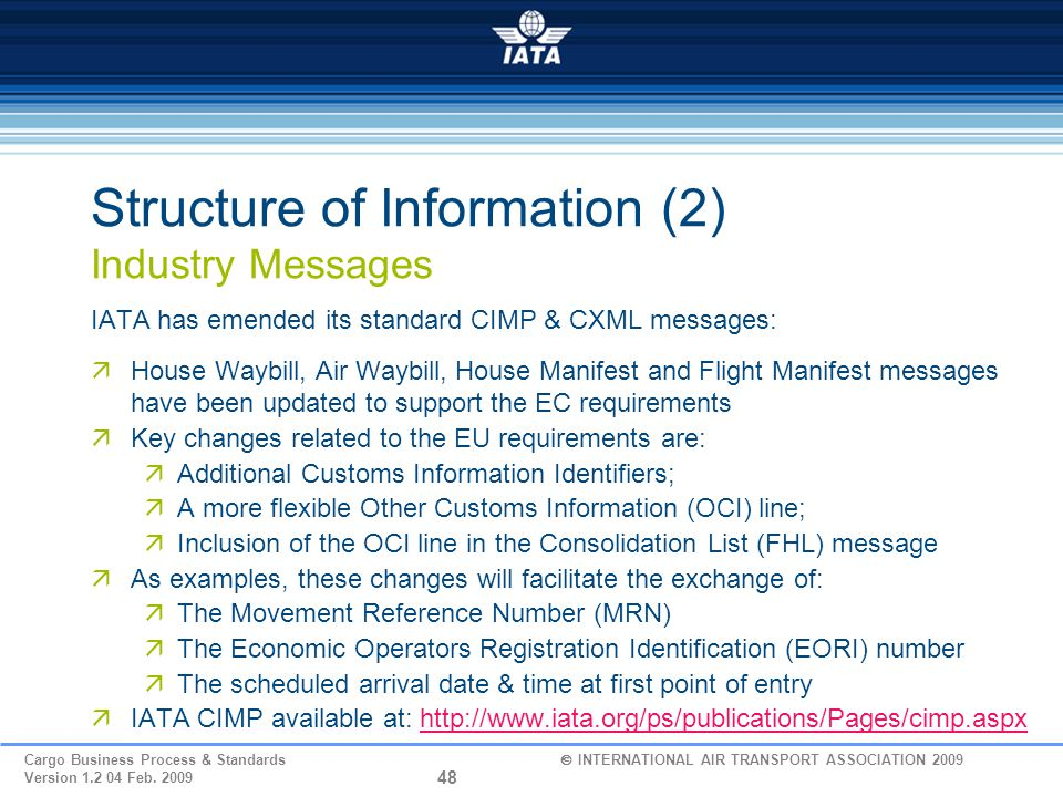 Structure of Information (2) Industry Messages