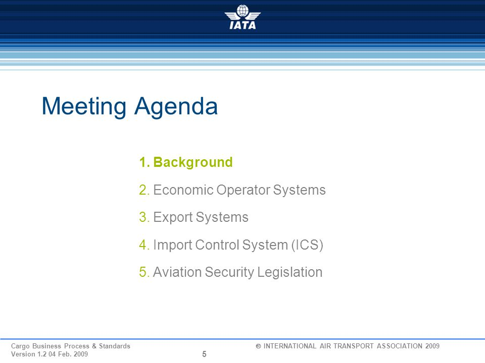 Meeting Agenda Background Economic Operator Systems Export Systems
