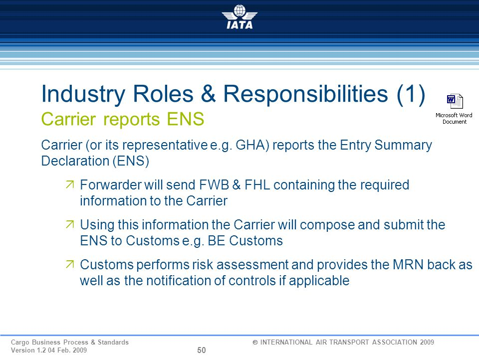 Industry Roles & Responsibilities (1) Carrier reports ENS