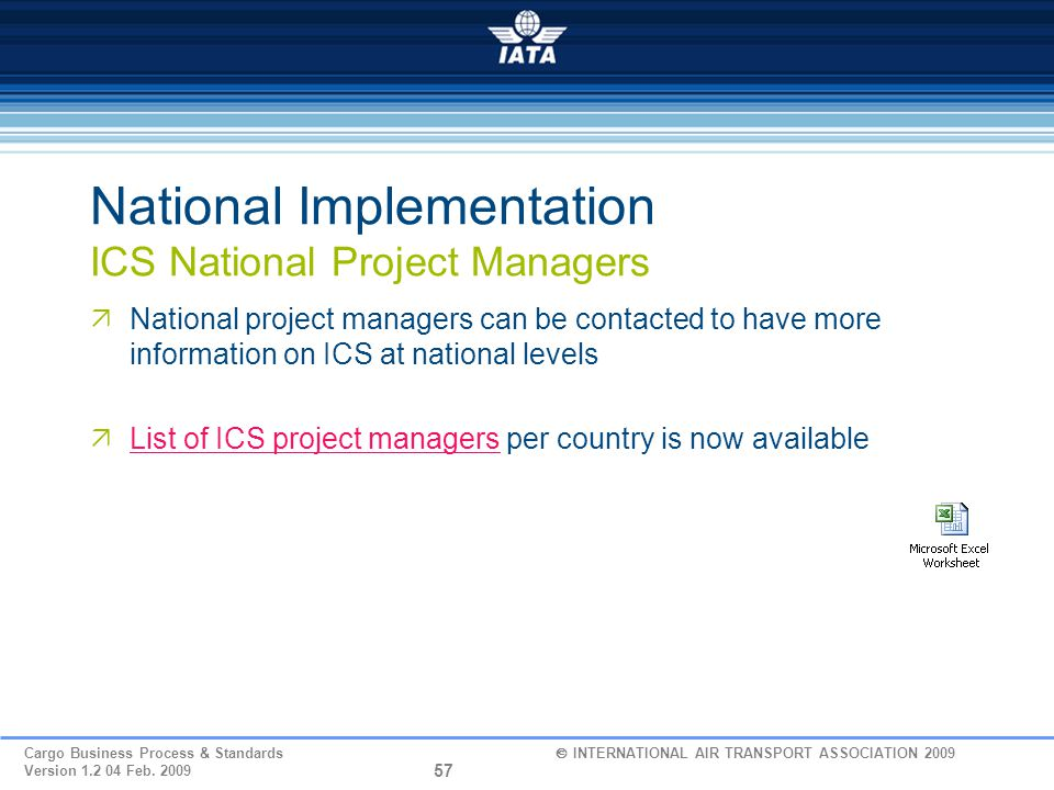 National Implementation ICS National Project Managers