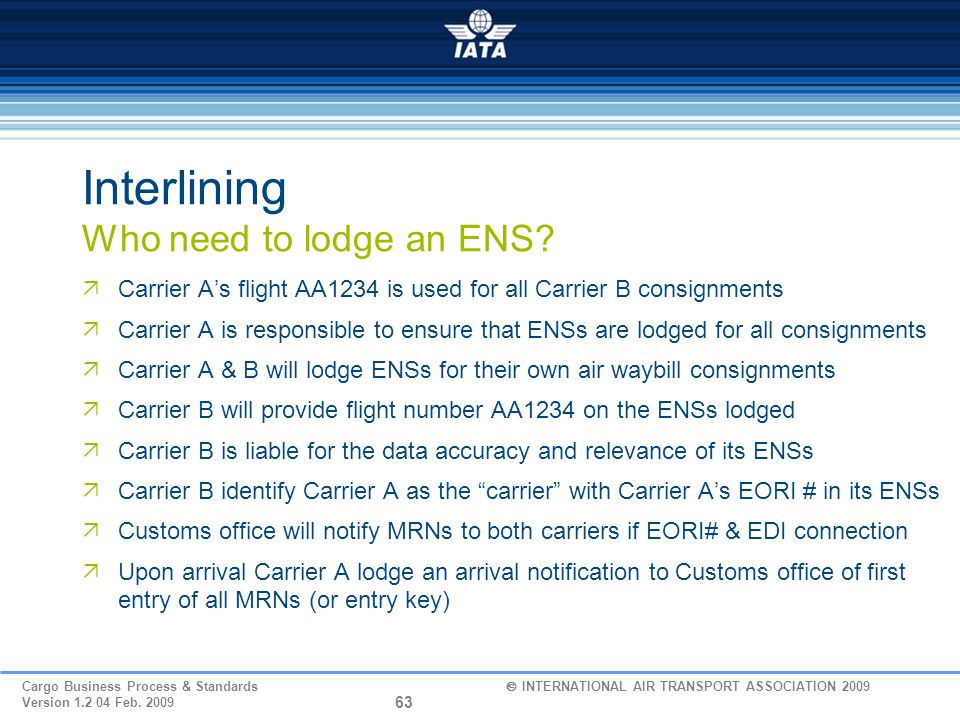 Interlining Who need to lodge an ENS
