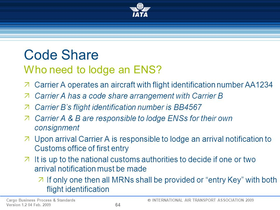 Code Share Who need to lodge an ENS