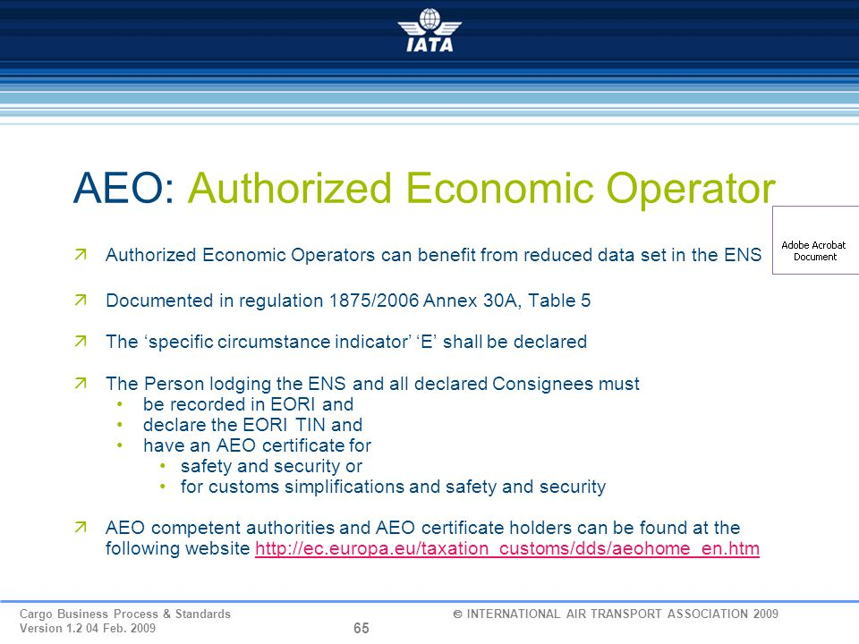 AEO: Authorized Economic Operator