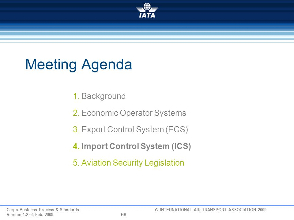 Meeting Agenda Background Economic Operator Systems