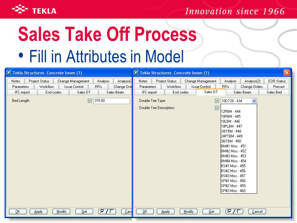 Sales Take Off Process Fill in Attributes in Model