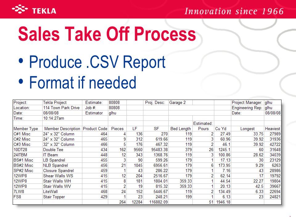 Sales Take Off Process Produce .CSV Report Format if needed