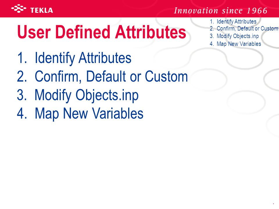 User Defined Attributes
