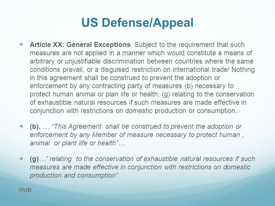 US Defense/Appeal