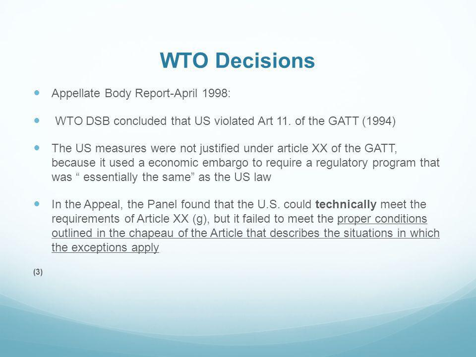 WTO Decisions Appellate Body Report-April 1998: