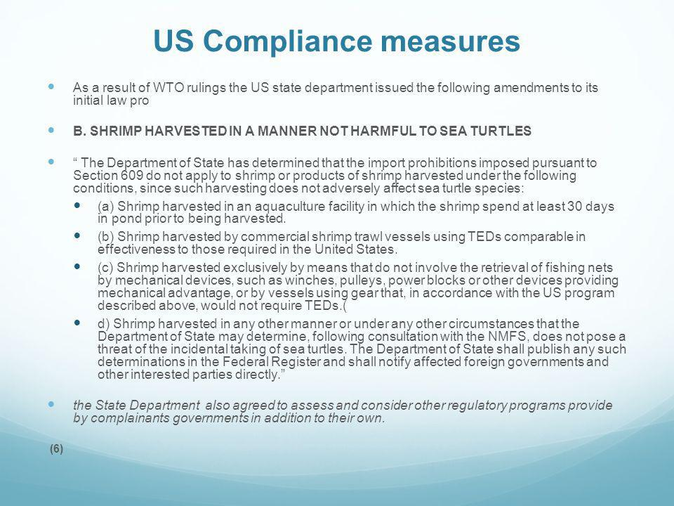 US Compliance measures
