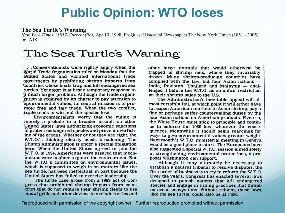 Public Opinion: WTO loses