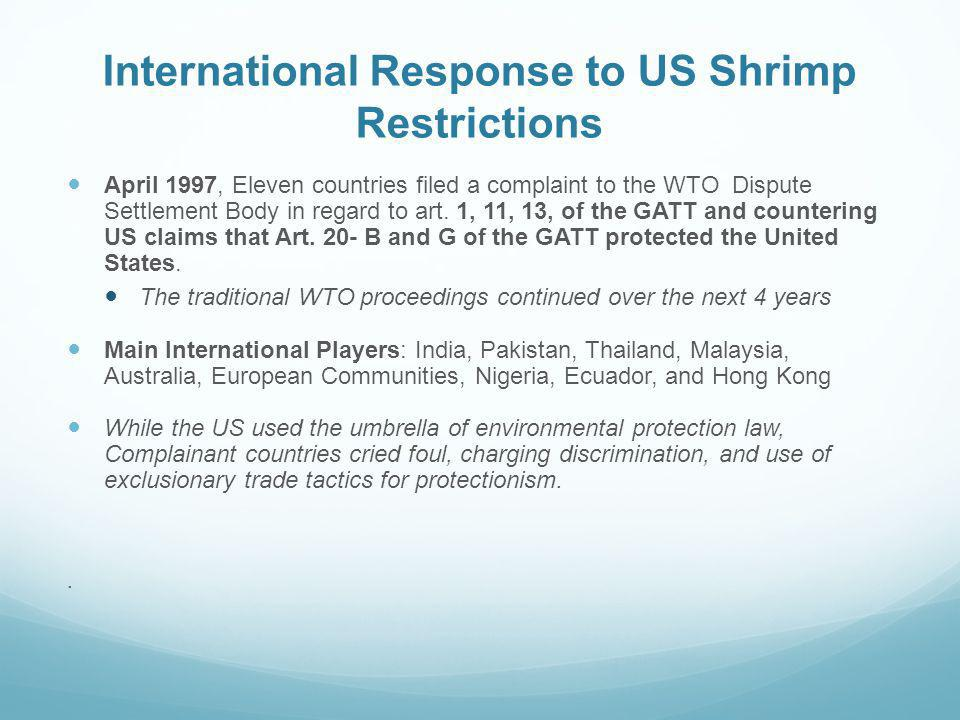 International Response to US Shrimp Restrictions