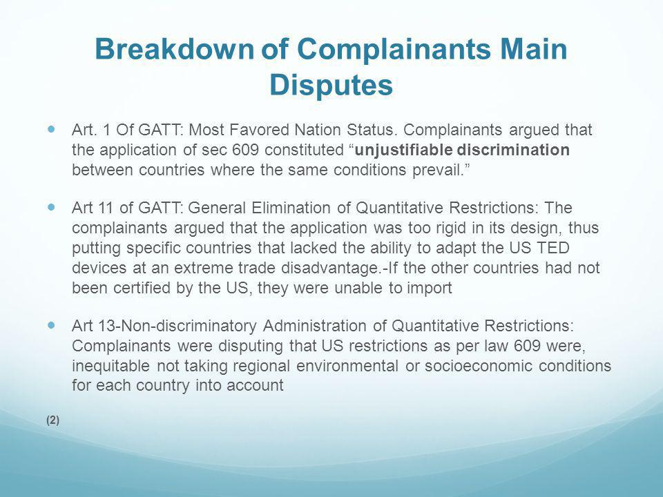 Breakdown of Complainants Main Disputes