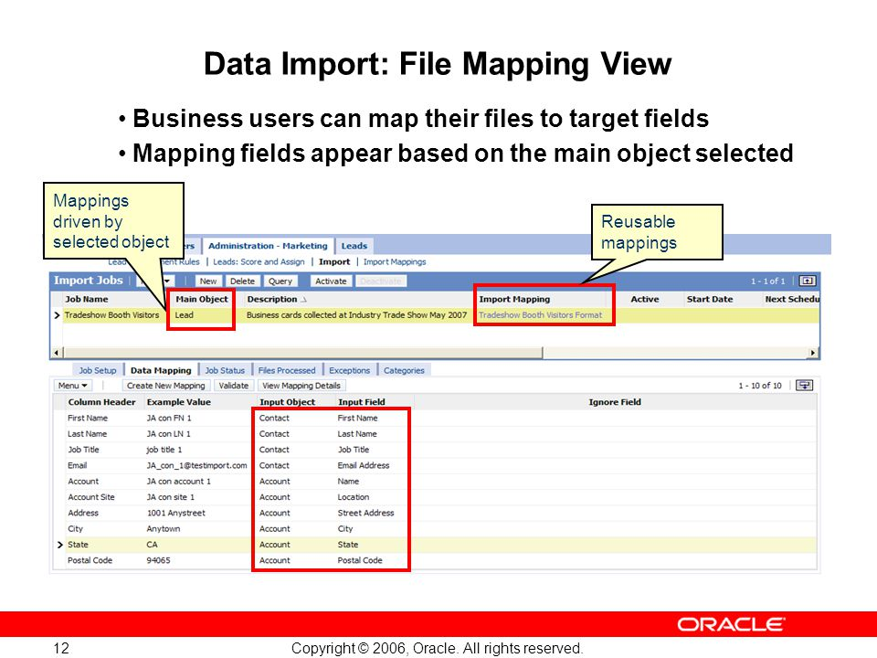 Data Import: File Mapping View