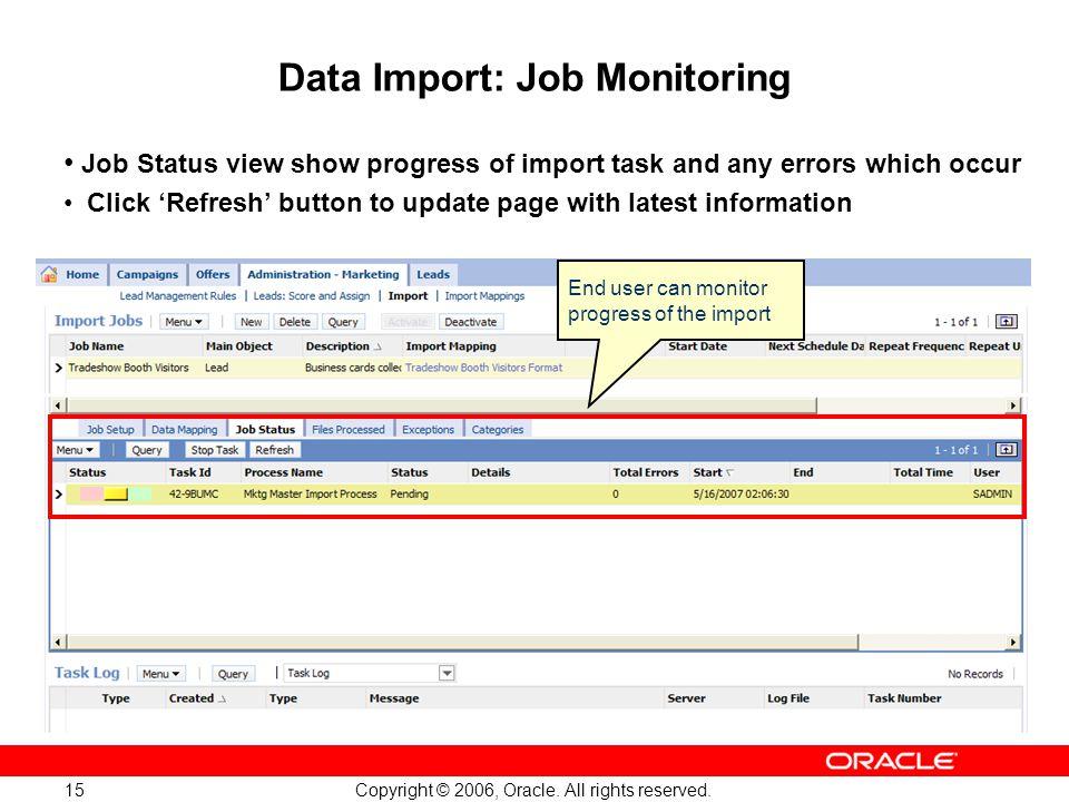 Data Import: Job Monitoring