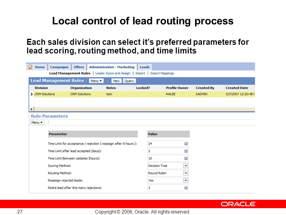 Local control of lead routing process