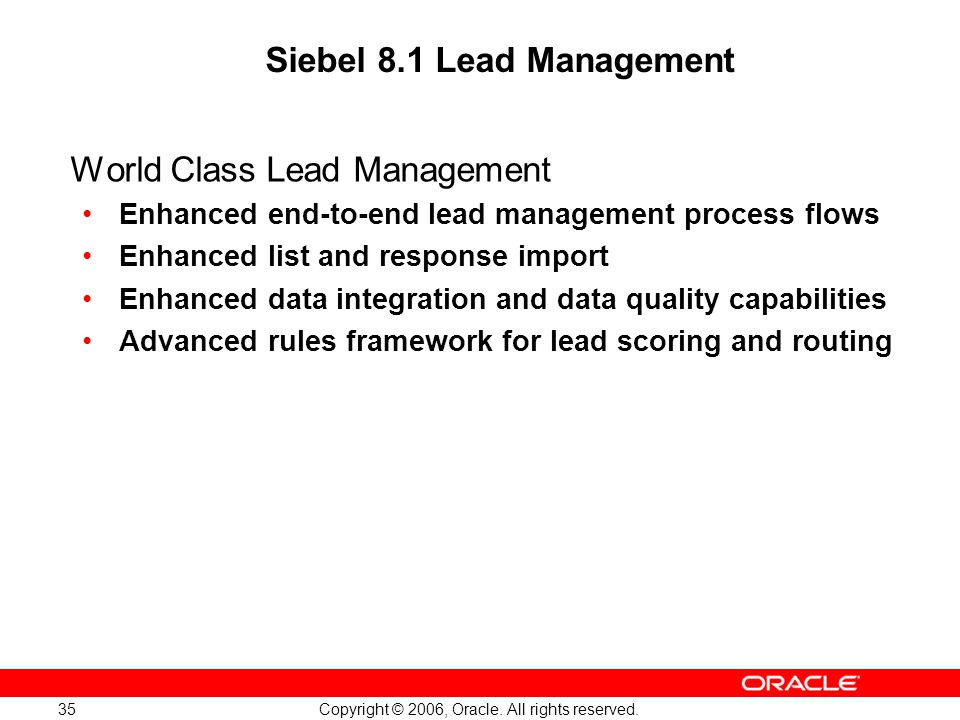 Siebel 8.1 Lead Management